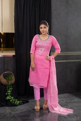 Pink thread embroidery kota doria salwar