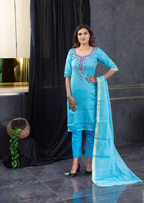 Blue thread embroidery kota doria salwar
