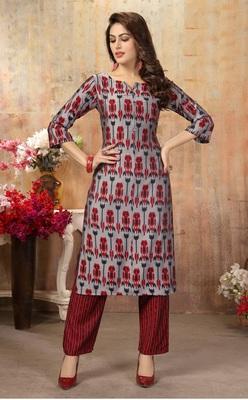 Women's Gray Printed Cotton Silk Kurta set with Pants_M