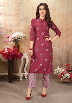 Women's Maroon Printed Cotton Silk Kurta set with Pants_M