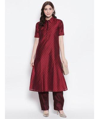 maroon shirt collar, conceled placket, chanderi, short sleeve kurta