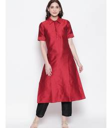 maroon shirt collar, conceled placket, art silk, short sleeve kurta