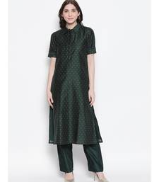 Dark Green shirt collar, conceled placket, chanderi, short sleeve kurta