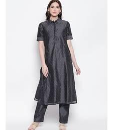 Grey shirt collar, conceled placket, chanderi, short sleeve kurta