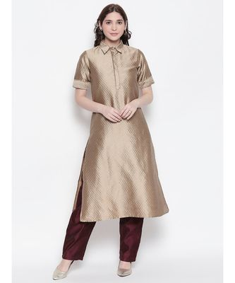 Beige shirt collar, conceled placket, art silk, short sleeve kurta
