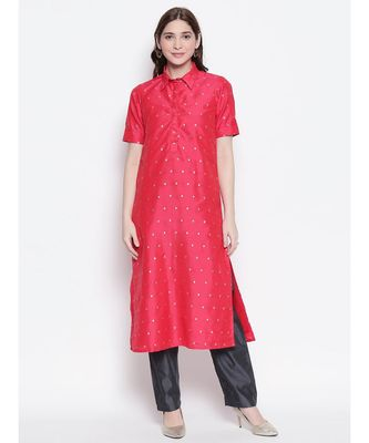 Tomato Red shirt collar, conceled placket, chanderi, short sleeve kurta
