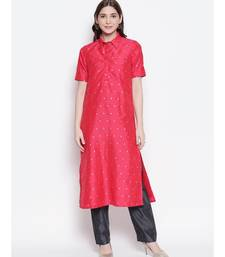 Tomato Red shirt collar, conceled placket, chanderi, short sleeve kurta