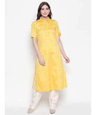 Yellow shirt collar, conceled placket, chanderi, short sleeve kurta