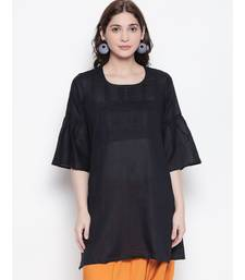 Black pleated short kurti