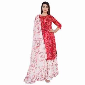 Women's rayon printed kurti with gota work and bottom printed skirt and duptta