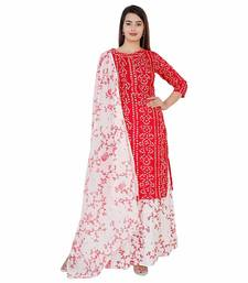 Women's rayon printed kurti with gota work and bottom printed skirt and duptta