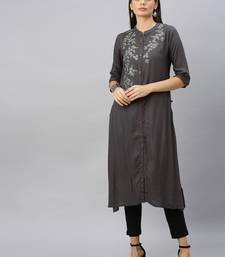 Dark-grey embroidered viscose ethnic-kurtis