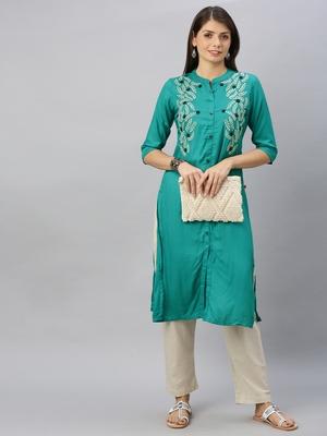 Teal embroidered viscose ethnic-kurtis