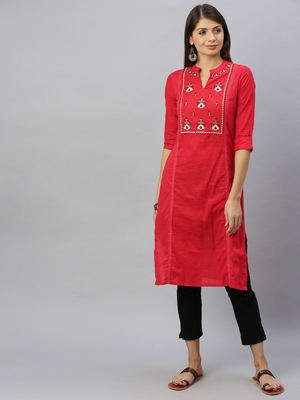 Red embroidered cotton ethnic-kurtis