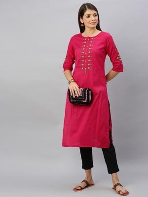 Pink embroidered cotton ethnic-kurtis