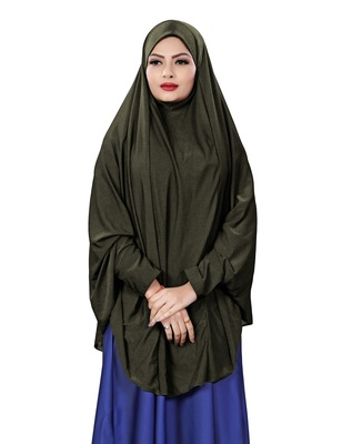 Justkartit Stitched Hosiery Lycra Islamic Chaderi Hijab With Veil And Sleeves