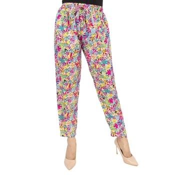 Multicolor printed polyester trousers