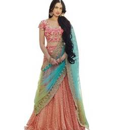 Attractive Pink (Peach) Colored Designer Partywear Embroidered Work Net Semi Stitched Lehenga Choli