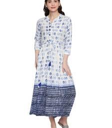 White & Indigo Long Maxi Dress For Women