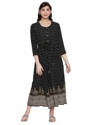 Black Long Printed Maxi Dress For Women