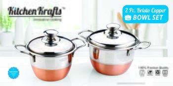 Kitchen krafts 2pcs Copper Bristo Bowl set with steel lid,  cook and serve