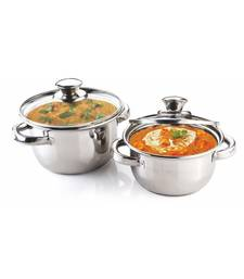 Kitchen krafts 2pcs Dutch oven set with glass lid, induction compatiable, cook and serve