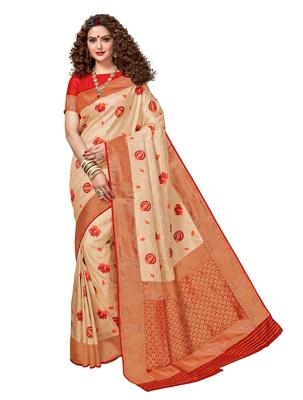 Cream woven brocade silk saree with blouse