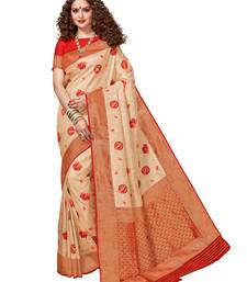 Cream woven brocade silk saree with blouse