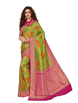 Green woven brocade silk saree with blouse
