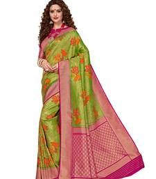 Green woven brocade silk saree with blouse