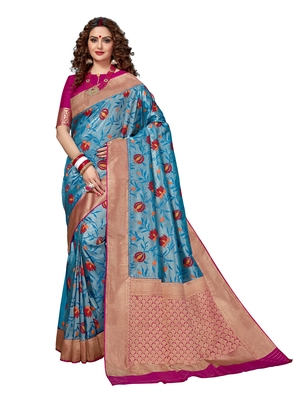 Turquoise woven brocade silk saree with blouse