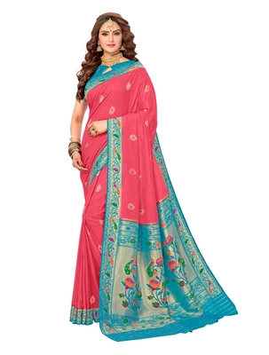 Teal woven silk saree with blouse