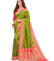 Mehendi woven silk saree with blouse