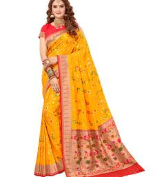 Golden woven silk saree with blouse