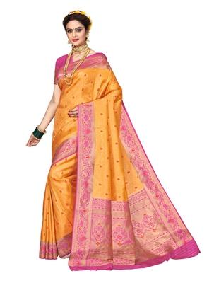 Orange woven brocade silk saree with blouse