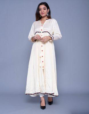 Light-cream embroidered art silk kurtas-and-kurtis