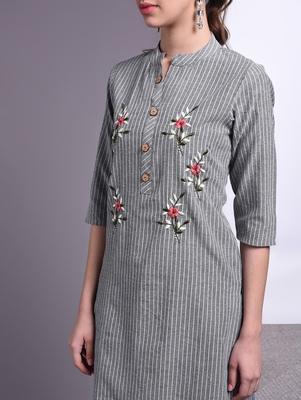 Women grey Cotton Embroidered Kurta and Pant Set