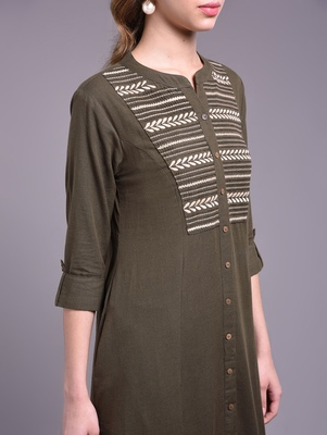 Women brown Cotton Embroidered Kurta and Pant Set