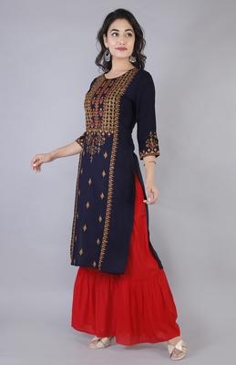 Women multicolor Viscose Embroidery Kurta with Sharara Set