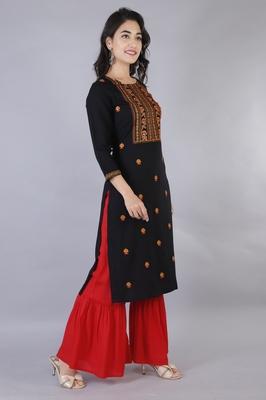 Women black Viscose Embroidery Kurta with Sharara Set