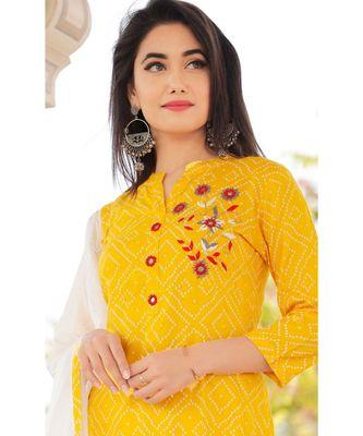Women yellow Viscose Embroidered Kurta and SKIRT & COTTON DUPATTA SET