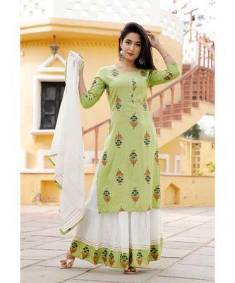 Women green Viscose Embroidered Kurta and SKIRT & COTTON DUPATTA SET