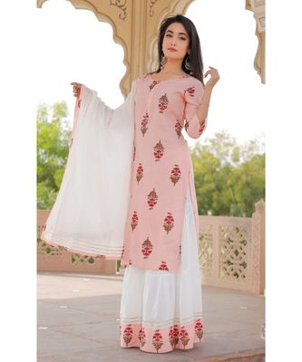 Women peach Viscose Embroidered Kurta and SKIRT & COTTON DUPATTA SET