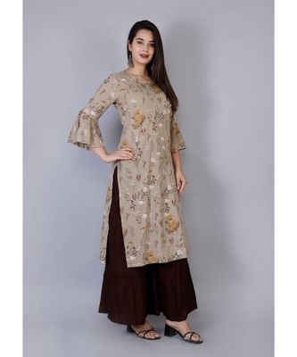 Women brown Cotton Kurta with hand work and Sharara Set