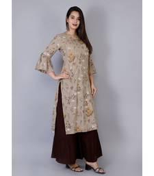 Women brown Cotton Kurta with hand work and Sharara Set