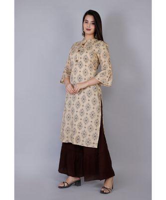 Women beige Viscose Printed Kurta and Sharara set