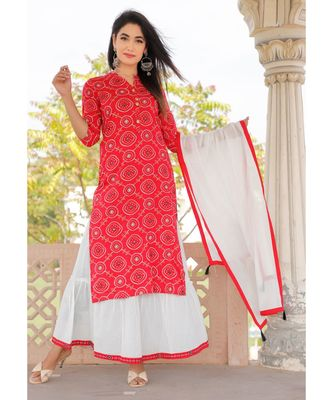 Women red Viscose Printed Kurta with Embroidery and Skirt & Cotton Dupatta