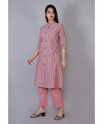 Women peach Cotton Stripe Kurta and Pant Set