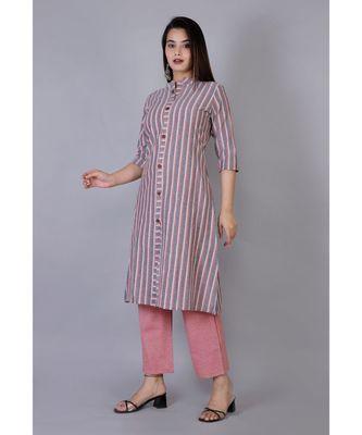 Women grey Cotton Stripe Kurta and Pant Set