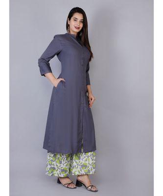 Women grey Rayon Solid Kurta with Printed Cotton Plazoo Set